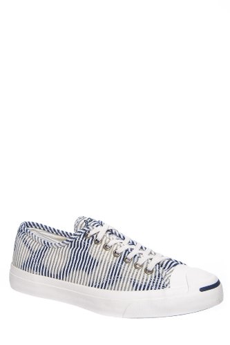Converse Unisex Jack Purcell? Jack Ox Egret/Dozar Blue Sneaker Mens 10, Womens 11.5 - Converse Jack Leather Purcell