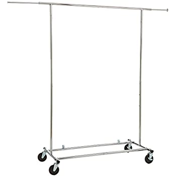 AmazonBasics Heavy Duty Steel Garment Rack on Wheels - Chrome