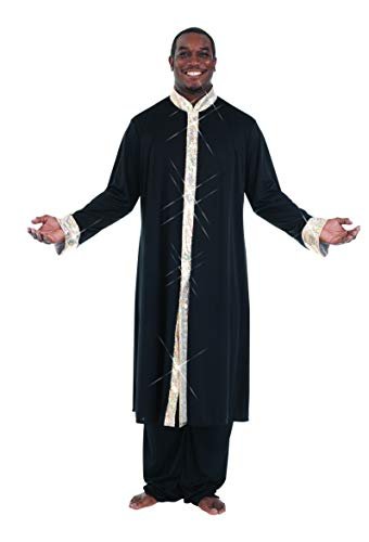 Body Wrappers M633 Mens Stained Glass Robe (X-Large, Black w/ Gold)]()