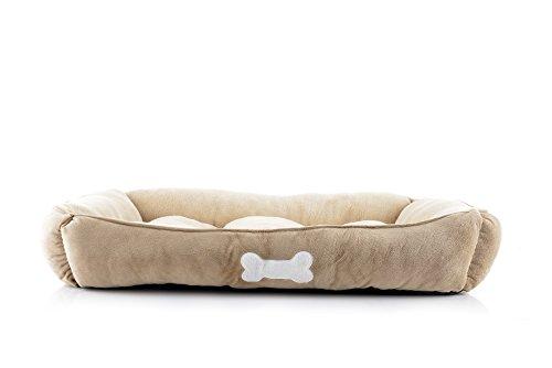 (long rich Large Rectangle Pet Bed, Khaki, by Happycare Textiles, Beige)