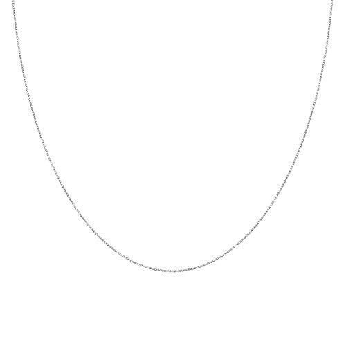 925 Solid Sterling Silver Diamond Cut 1.0MM CURB Chain Necklace MADE IN ITALY- Thin,silky and SUPER Strong and Rhodium Plated 20'' (Rhodium Plated Sterling Silver Chain)