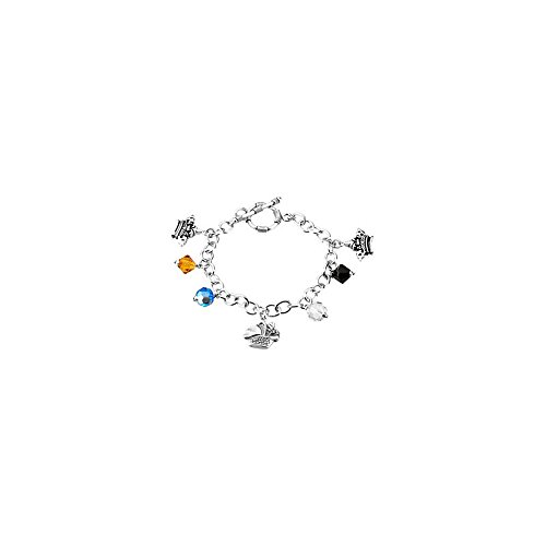 .925 Sterling Silver The Lord's Prayer Charm Bracelet Toggle Clasp, 7.25'' by Precious Gem Jewellers