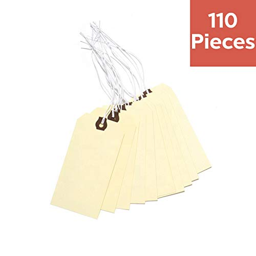 110 Pre-Strung Shipping Tags 4.7 Inches X 2.4 Inches - Waxed String Blank Manila Tags with Reinforced Eyelet