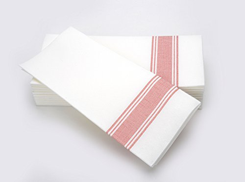 Simulinen Dinner Napkins RED Stripe Bistro Decorative Cloth Like & Disposable Bistro Napkins  Soft, Absorbent & Durable (19x17  Box of 60)