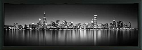 Easy Art Prints Panoramic Images's 'Reflection of Skyscrapers in a Lake, Lake Michigan, Digital Composite, Chicago, Cook County, Illinois, USA' Framed Canvas Art - 36