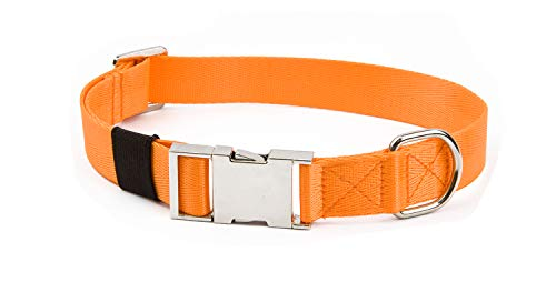"Puppy Face Durable Dog Collar with Metal Buckle,Nylon Collars for Dogs (Large:Neck 18""-26""/Width 1"", Orange)"
