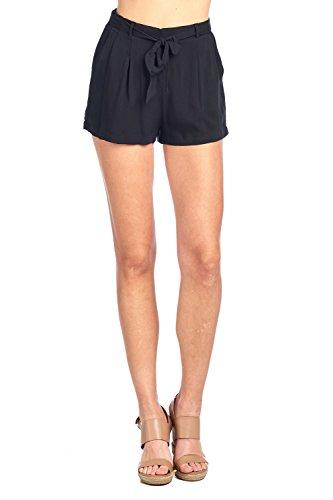 Khanomak Solid Lightweight Mid-Rise Self Tie Ribbon Belt Elasticized Waist Slanted Front Pockets Shorts (Medium, Black) by Khanomak