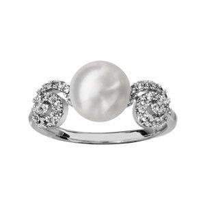 1001 Bijoux - Bague argent rhodié spirale oxydes blancs sertis avec perle d'eau douce blanche