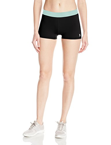 - Soffe Women's JRS Dri Short Poly/spdx, Black/Crystal Green, Small
