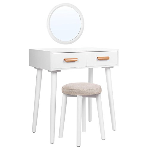 SONGMICS Modern Vanity Set with Wall Mirror, Wooden Makeup Table, 1 Stool and 2 Drawers, for Dressing Room, White URDT40WT ()