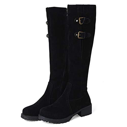 De Bottes Chaudes Chevalier Hautes Noir Femmes Eclair Fermeture Hiver Boots Taoffen wHqXx