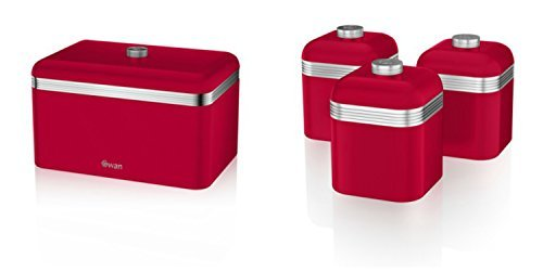 Price comparison product image Swan Kitchen Accessories Retro Set - Retro RED Bread bin (Breadbin) and 3 RED Canisters Set by Swan