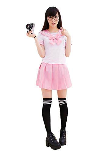 Ninimour- Japan School Uniform Dress Cosplay Costume Anime Girl Lady Lolita (S, Pink)