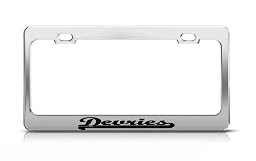 devries-last-name-ancestry-metal-chrome-tag-holder-license-plate-cover-frame