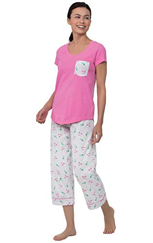 PajamaGram Capri Pajamas for Women - Summer Pajamas for Women, Pink, M, - Tee Jersey Fit Easy V-neck