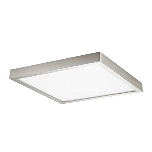 GetInLight Square 10-inch Dimmable Flush Mount Ceiling Fixture, 17 Watt, Brushed Nickel Finish, 3000K Soft White, 100W Replacement, Damp Location Rated, ETL Listed, IN-0313-3-SN