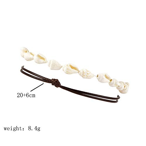(2 Pcs/Set Women Boho Beach Wax Rope Shell Chain Anklet Bearfoot Bracelet Ankle)