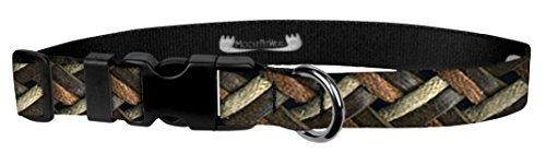 Moose Pet Wear Dog Collar - Patterned Adjustable Pet Collars, Made in the USA - 3/4 Inch Wide, Small, Leather Weave