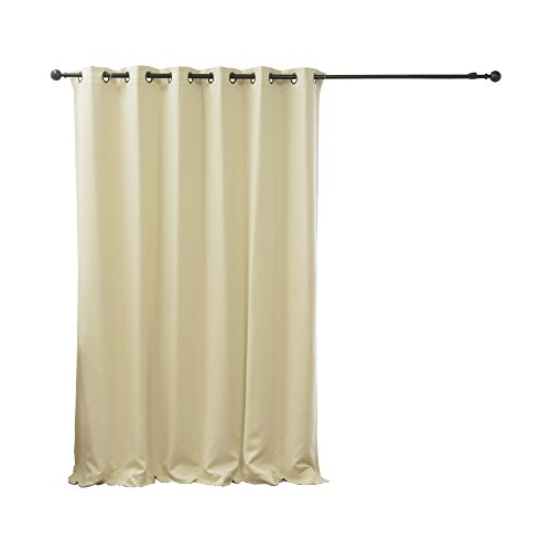 Best Home Fashion Wide Width Thermal Insulated Blackout Curtain - Antique Bronze Grommet Top - Beige - 80
