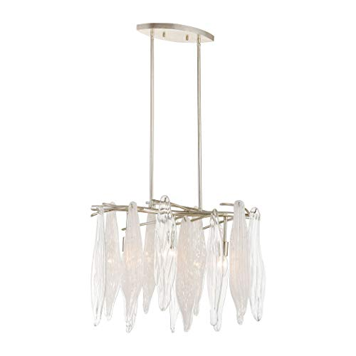 (Elk Lighting 32433/3 Winterlude 3-Light Silver Leaf with Clear and Encased White Hand Formed Glass Chandelier,)