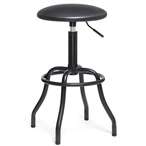 (SONGMICS Bar Stool, Height Adjustable Bar Chair, 360° Swivel Kitchen Stool with Footrest, Comfortable Breakfast Stool, Vintage Industrial Style, Iron Legs, Black ULJB30BK)