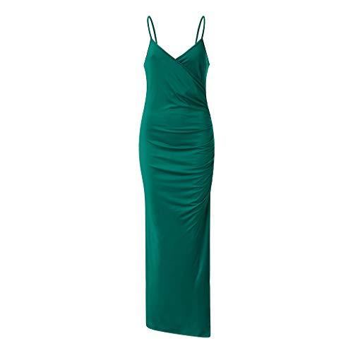 Solid Sleepshirt - Toimothcn Women Solid V Neck Sling Bodycon Dress Sleeveless Spaghetti Strap High Split Evening Party Long Ball Gowns(Green2,L)