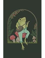 Notebook: Dot Grid Sketchbook | Frog Playing Banjo On Mushroom | Cottagecore Aesthetic Frog Journal