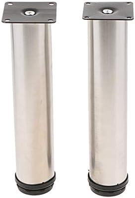 Homyl 2x Pata de Sofa Muebles de Hogar Pieza de Respuesto de Acero Inoxidable - 30 centimetros