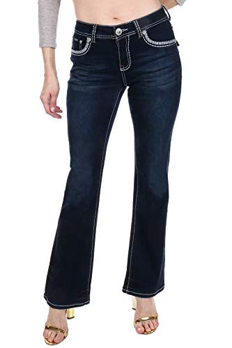 Women's Bootcut Jeans Hand-Sanding Whiskering Contrast Stitching Embroidered Reversed Fleur De Lis Back Pockets Crystal S555-PB Size 9 ()