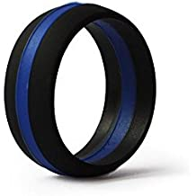 Thin Blue Line Silicone Wedding Ring Band Flexible Hypoallergenic Active Wear for on duty or active life styles Law Enforcement