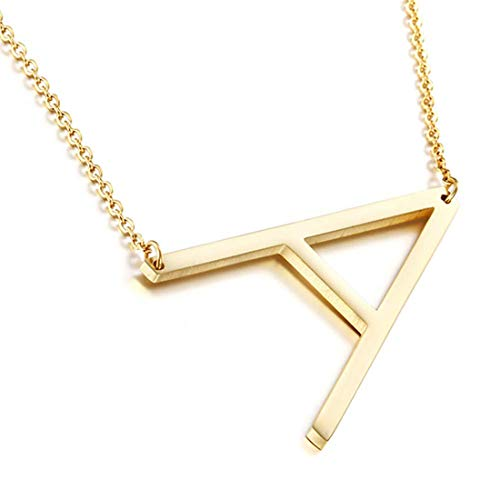 Sideways Initial Necklace 18K Gold Plated Stainless Steel Large Letter A Necklace Big Initial Pendant Monogram Name Necklace for Women (Necklaces With A Initial)