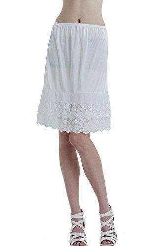 Lace Slip Half Slip - Melody [Shop Lev] Double Layered Satin Skirt Extender/Half Slip (White, Small)