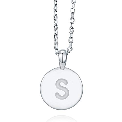 PAVOI 14K White Gold Plated Letter Necklace for Women | Gold Initial Necklace for Girls | Letter S