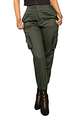 Nulibenna Womens High Waist Cargo Pants Slim Fit Casual Jogger Trousers with Pockets