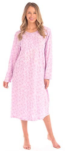 Patricia Women's Print Long Sleeve Combed Cotton Knit Nightgown (Pink Floral 45