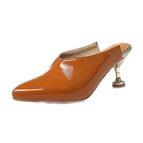 MIOKE Women's Fashion Kitten Low Heel Sandals Pointed Toe Slip On Cutout Comfort Stilettos Heeled Sandal Tan ()