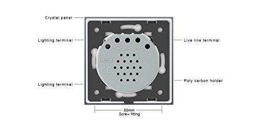 LIVOLO Interruptor con mando a distancia con pantalla LED Interruptor para pantalla táctil de vidrio cristalino Estándar UE 1 Gang 1 way,VL-C701R-11-R: ...