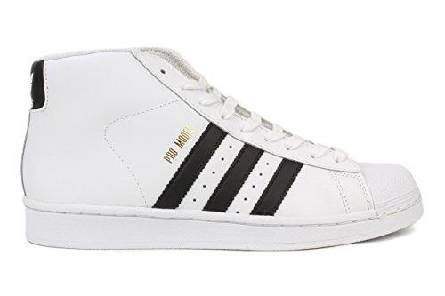 adidas Originals Unisex-Kid's PRO Model J Running Shoe, White/Black/White, 7 M US Big Kid