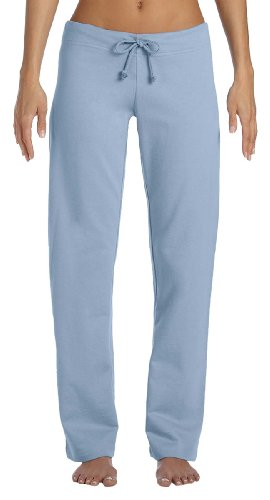 Bella Ladies Ringspun Cotton Straight Leg Fleece Pants - Baby Blue - Large Cotton Fleece Straight Leg Pant
