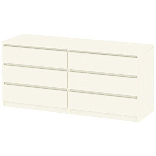 Tvilum 7029648 Scottsdale 6 Drawer Double Dresser, White Wood Grain