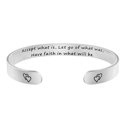 Joycuff Christian Gift for Women Inspirational Jewelry Accept What is Let Go of What was Have Faith in What Will Be Bracelet