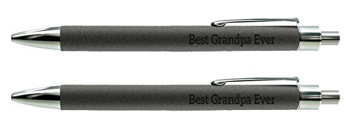 Grandpa Gifts Best Grandpa Ever Gifts from Grandchild Engraved Gray Leatherette 2-Pack Gift Pen Set