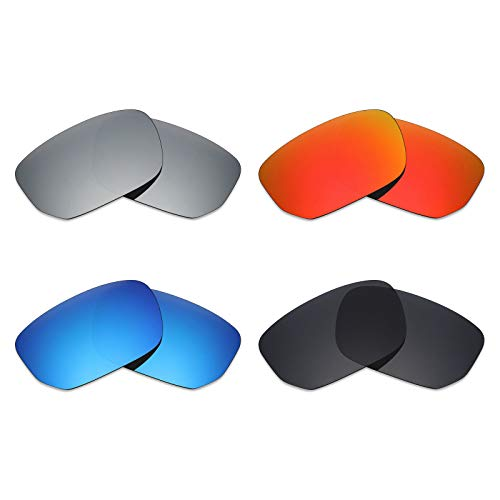 Mryok 4 Pair Polarized Replacement Lenses for Oakley Style Switch Sunglass - Stealth Black/Fire Red/Ice Blue/Silver ()
