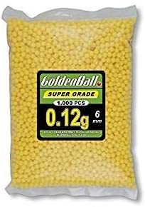 Bolsa 1000 Bolas Golden Ball 35058 - Bolsa con Bolitas de PVC para Armas, Amarillo, 6 mm, 0,12 gr. Ideal para Airsoft, Tiro Deportivo y Ocio al Aire Libre.