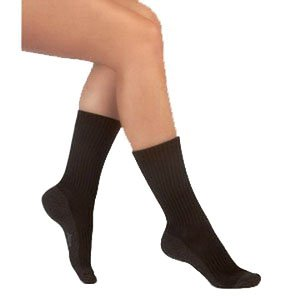- JU5760ACM10 - Silver Sole Support Sock,12-16mmhg,Med,Crew,Black