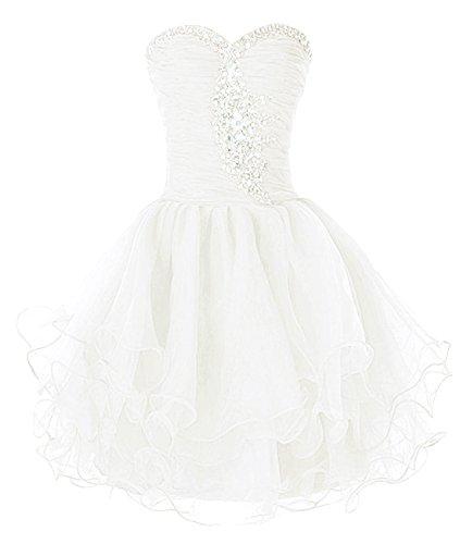 Perles Courte De L'ivoire Robe De Retour À La Maison De Bal En Organza Robe De Bal Bess Femmes De Mariée