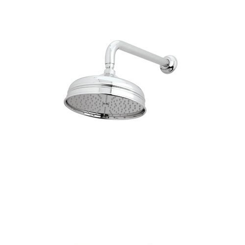 Rohl 1037/8APC 8-Inch Diameter Bordano Shower Rose Showerhead with Easy Clean Anti-Cal Spray Pattern Swivel and Flow Restrictor, Polished Chrome - Rohl Chrome Shower