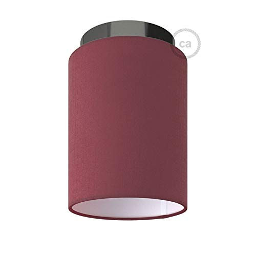 Fermaluce with Burgundy Canvas Cylinder Lampshade, Black Pearl Metal, Ø 5.90