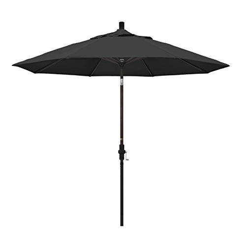 California Umbrella 9' Round Aluminum Market Umbrella, Crank Lift, Collar Tilt, Bronze Pole, Pacifica Black (Umbrella Collar Tilt Patio)