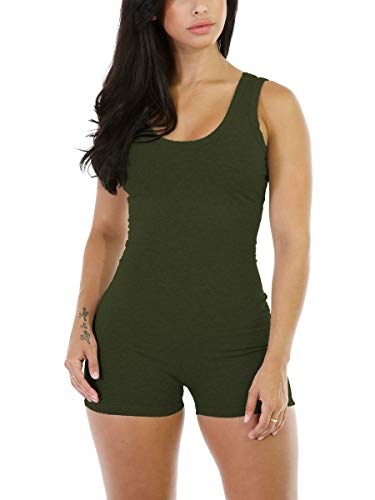 Women Short Bodysuit to Baby Shower Training Skinny Army Green Romper Jumpsuit M]()